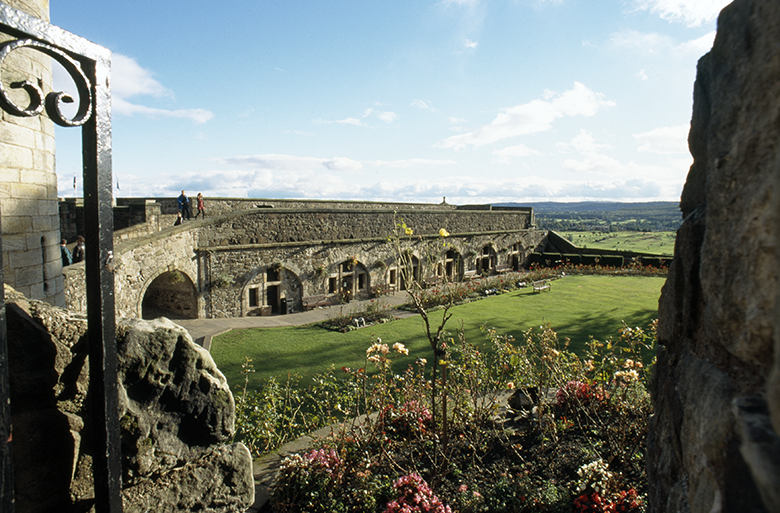 View of the gardens at Stirling Castle