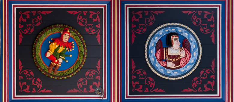 colour photo of the Stirling Head carvings at Stirling Castle