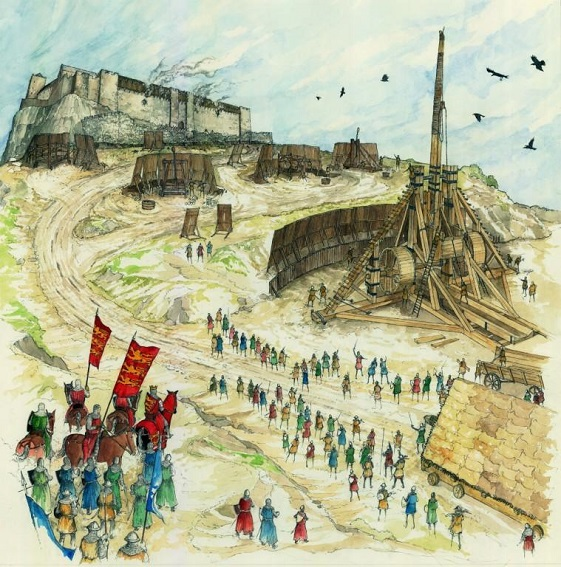 artist's impression of the Warwolf in action. Shows Stirling Castle in the background, a large trebuchet with troops gathered around it.