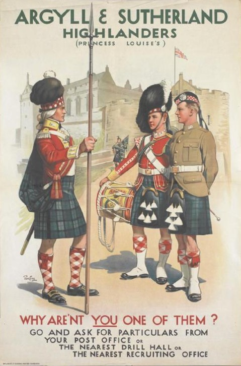 A First World War recruitment poster for the Argyll and Sutherland Highlanders showing three soldiers in kilts standing outside Stirling Castle.