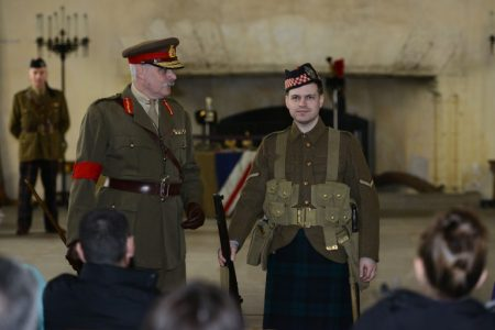 Two reenactors in First World War army uniforms at an event in Stirling Castle.