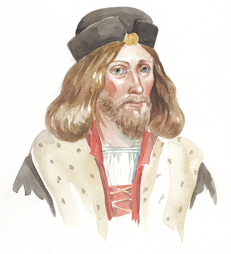 An artist's impression of James I of Scotland with long hair and a beard