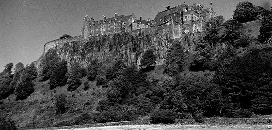 A black and white archive photo showing Stirling Castle's dominant position from ground level