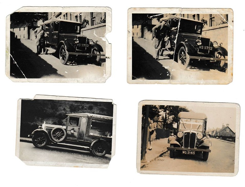 Four archive photos of a fruit and veg van from the 1920s