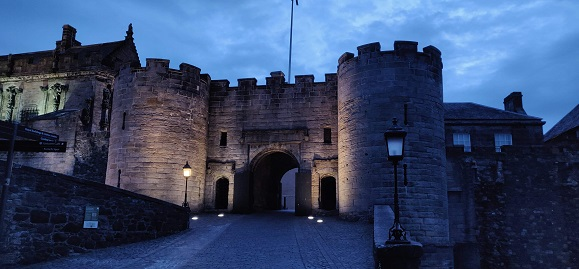 The gatehouse of Stirling Castle at nightfall