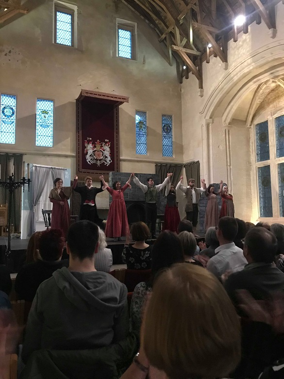 The cast of Wuthering Heights take a bow from the stage in Stirling Castle's Great Hall