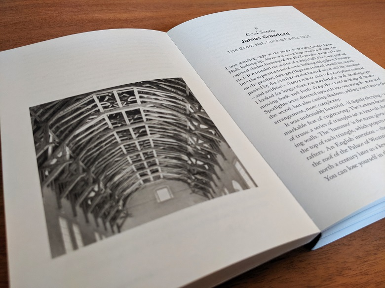 An open copy of a book showing an image and the opening page of a chapter