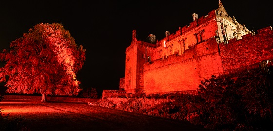 The palace at Stirling Castle bathed in red light