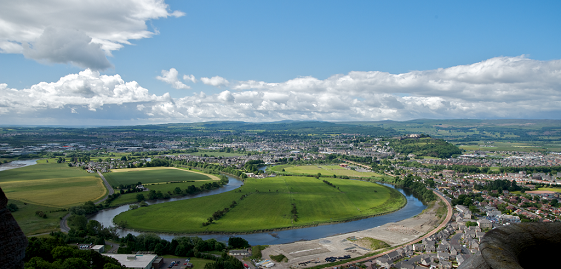 A view of Stirling and the River Forth from the top of the Wallace Monument