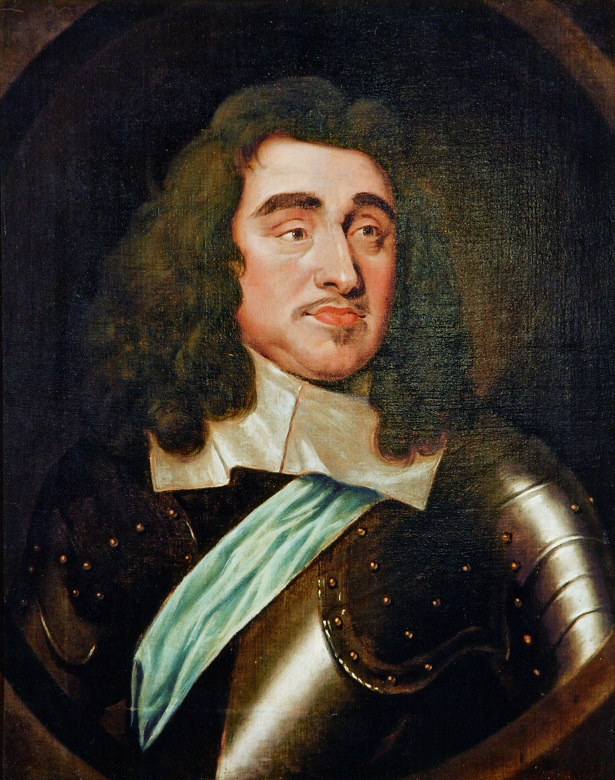 Portrait of George Monck wearing armour and long, curly hair