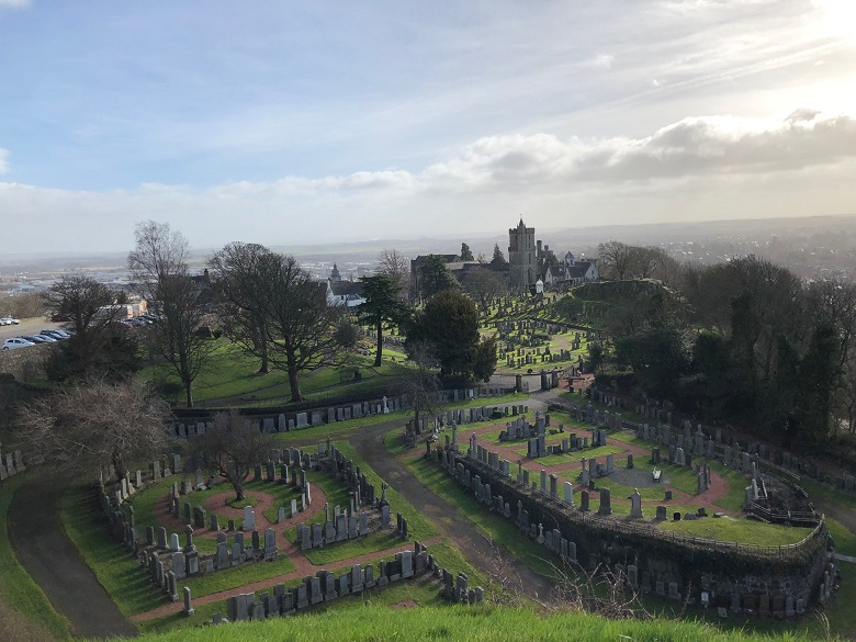 View of a church and churchyard taken from the battlements at Stirling Castle