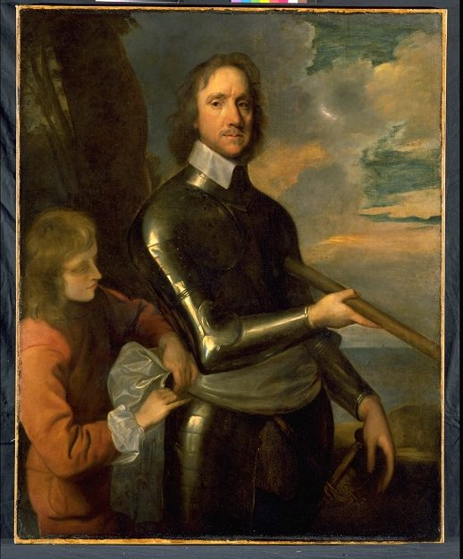 Portrait of Oliver Cromwell wearing armour and being attended to by a servant