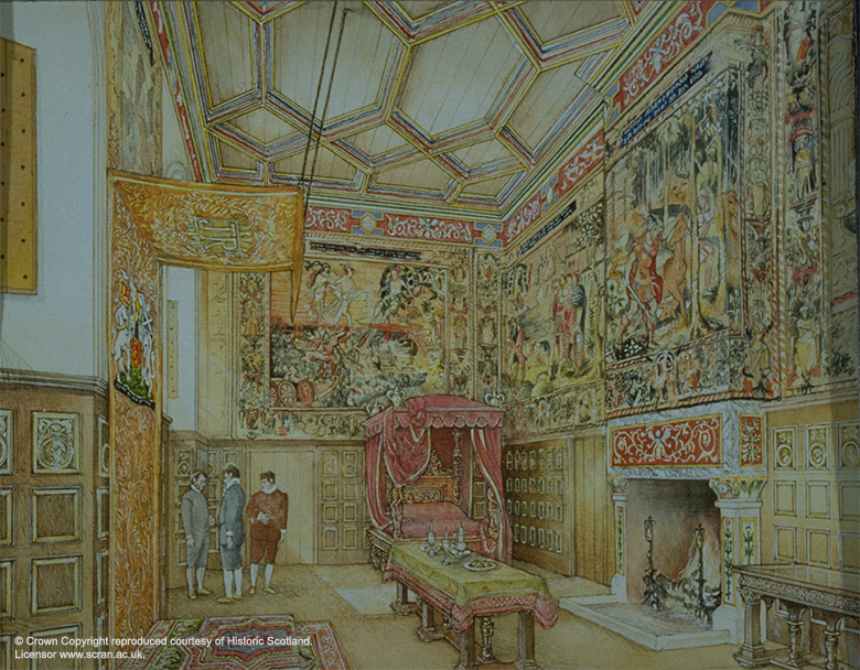 A reconstruction drawing showing a rich room hung with tapestries and with a paneled ceiling. There is a four-poster bed in the corner. A large fireplace with a long table in front of it.