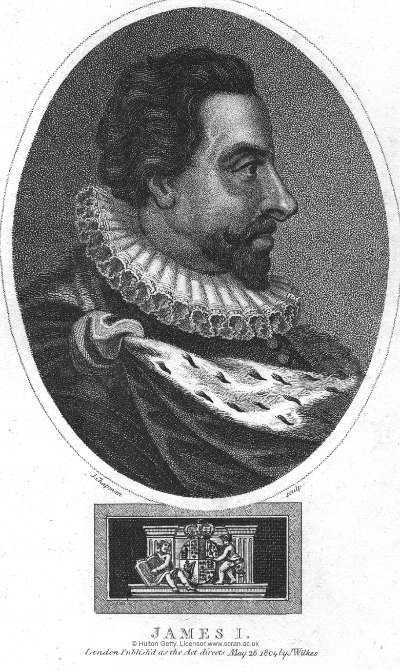 An engraving showing James VI in profile. He has a beard and wears a ruff and ermine.