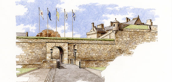 A drawing of the outer defences, Stirling Castle. Illustration by Bill Fulton.
