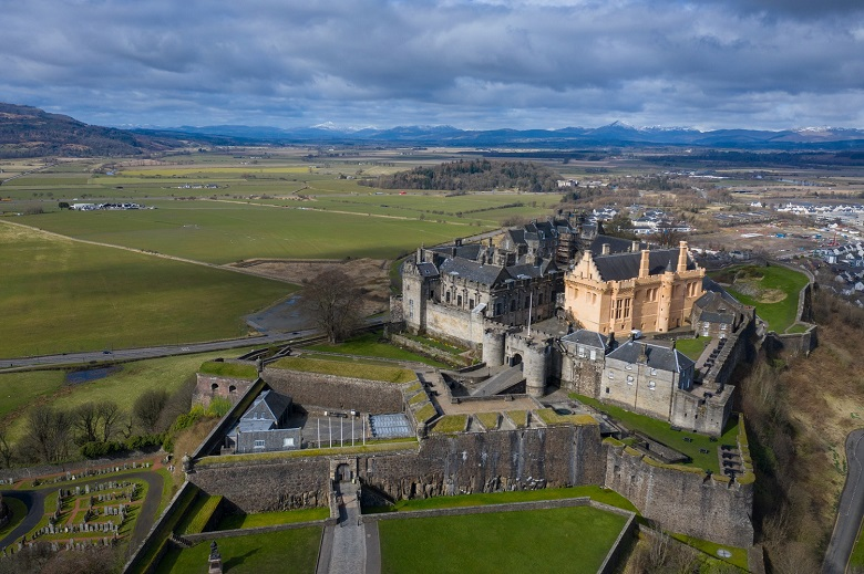 Aerial photo of Stirling Castle taken by a drone