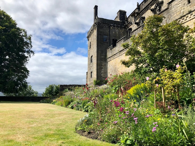 Well-kept lawns and flower beds at Stirling Castle