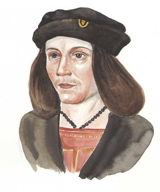 A sketch of James IV with long hair and a black cap