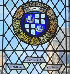 The coats of arms of William Sinclair depicted in stained glass