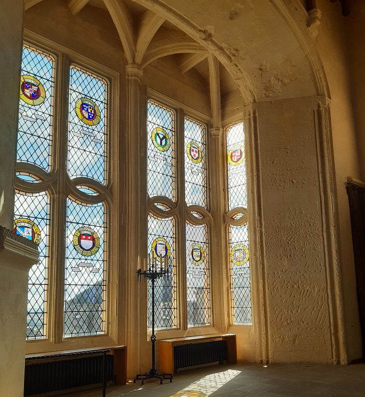 A window in the Great Hall at Stirling Castle decorated with crests