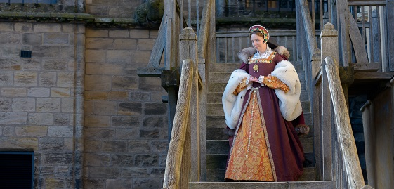 Portrait of a costumed performer portraying Mary de Guise, Stirling Castle.
