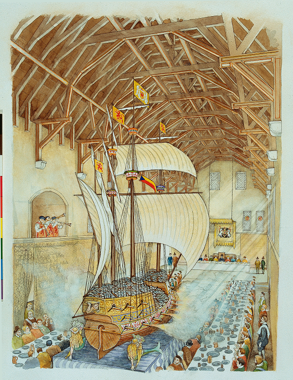 An artist's impression of a large model ship built into a banqueting hall in a castle