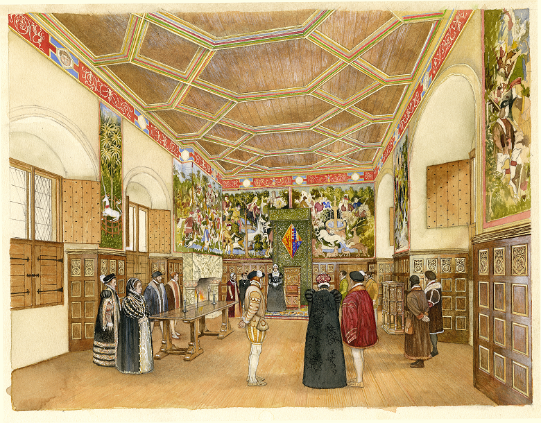 A drawing of various figures in period costumes walking and talking in a large great hall