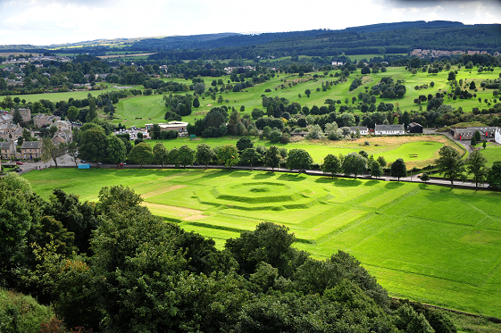 A view of the King's Knot and surrounding green parkland from Stirling Castle