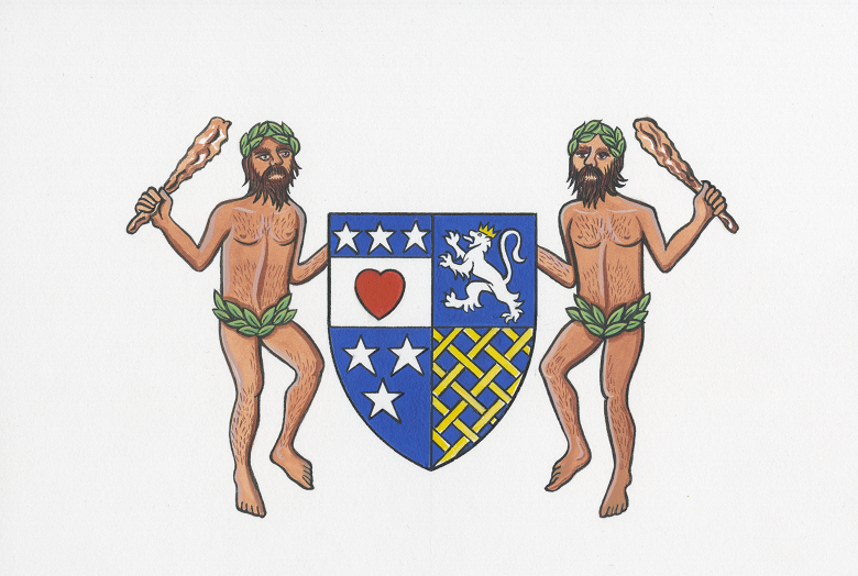 A coat of arms featuring a red heart flanked by two semi-naked men holding clubs