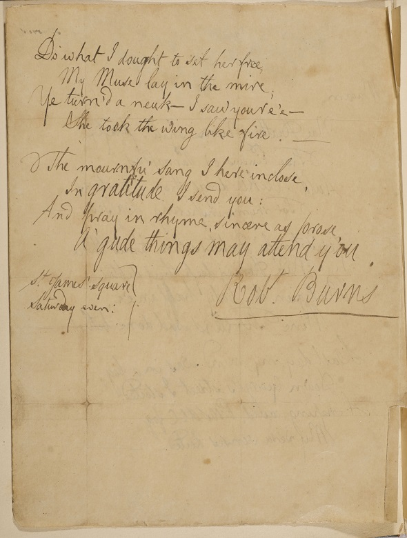 A handwritten poem signed by Robert Burns