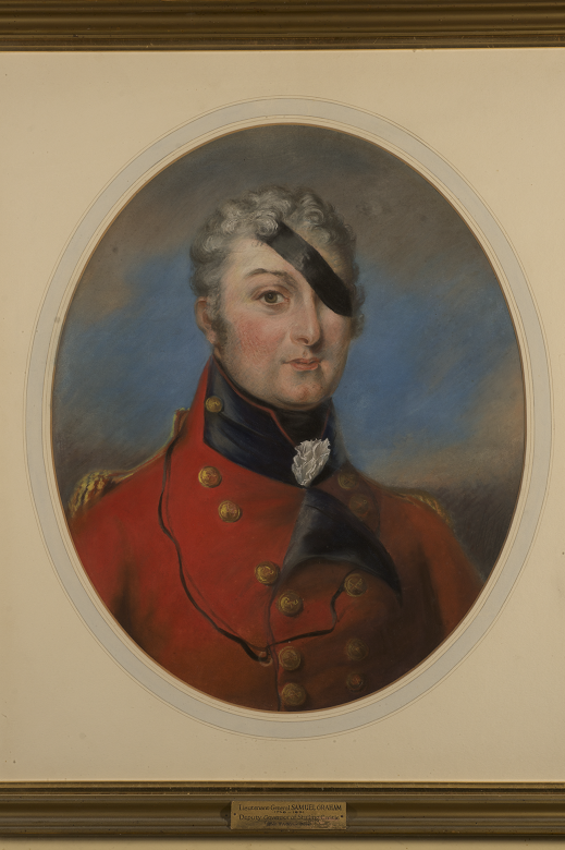 A portrait of a general in uniform wearing a black eye patch over his left eye