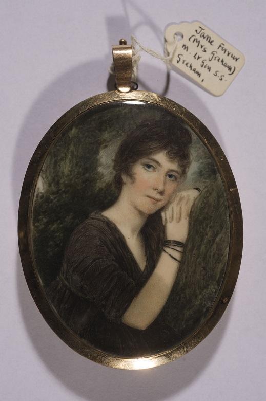 A portrait of Jane Ferrier on a locket
