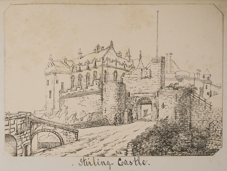 A sketch by Jane Ferrier of the gatehouse at Stirling Castle and the Great hall and Palace buildings behind it