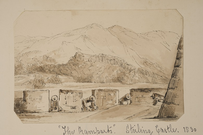 A sketch by Jane Ferrier of a view of mountains and crags over the battlements of a castle