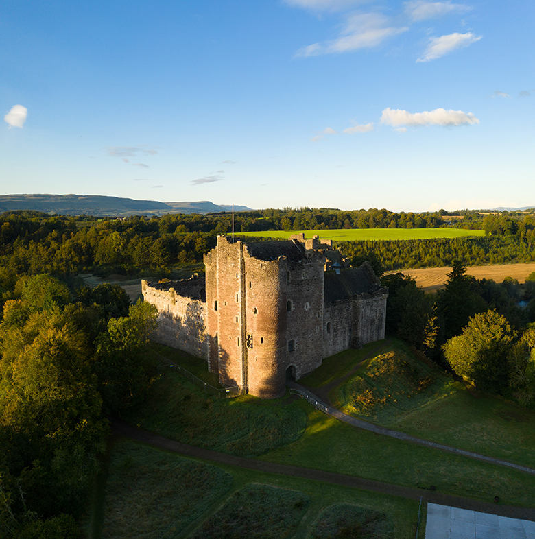 aerial view of Doune Castle